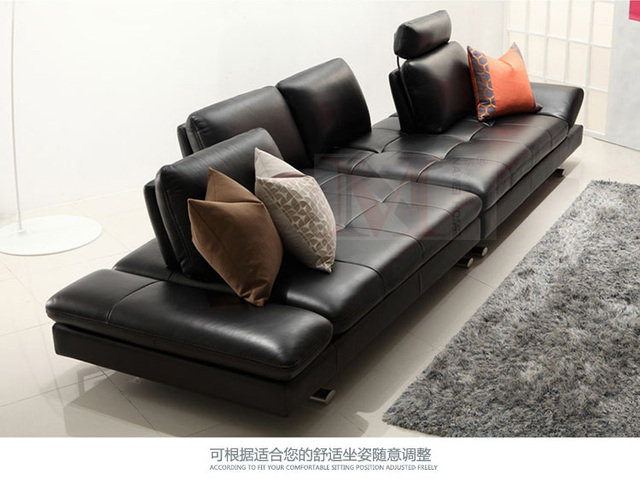 Real Leather Sofa Sectional Living Room Sofa Corner Home Furniture Couch  4 Seater Functional Backrest