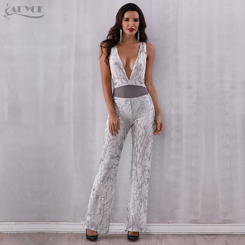 Club Jumpsuits Sexy Deep V Neck Bodysuit Sequines Patchwork Mesh Sleeveless Celebrity Party Long Jumpsuit