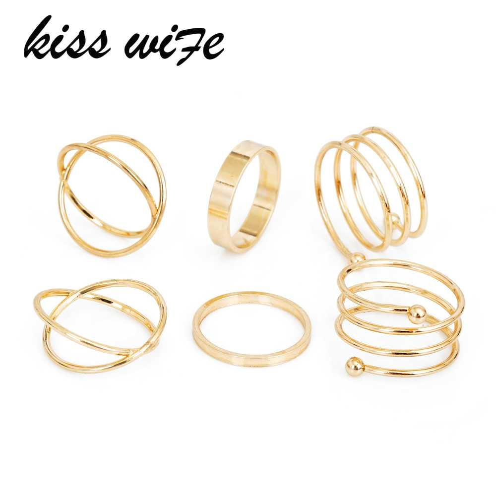 KISSWIFE Hot Unique Ring Set Punk Gold Color Knuckle Rings for women Finger Ring 6 PCS Ring Set Best Selling 2017