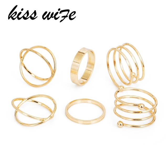 KISSWIFE Hot Unique Ring Set Punk Gold Color Knuckle Rings for women Finger Ring