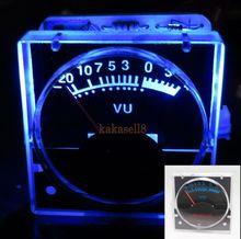2 pcs 12 v Analog Panel VU เมตรระดับเมตรสีฟ้าด้านหลังตัวบ่งชี้ระดับสเปกตรัมเพลง