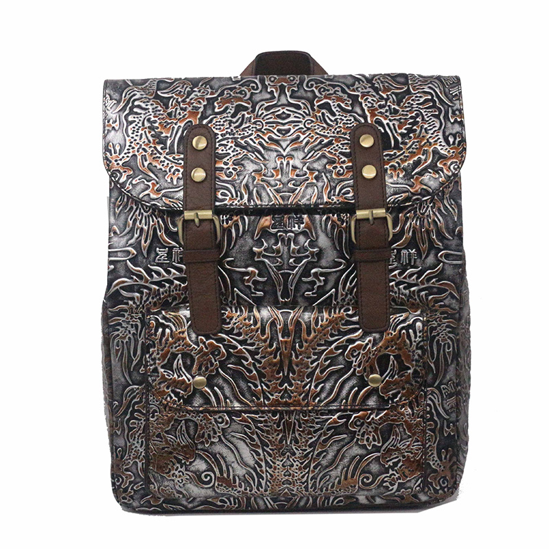 Genuine Embossed Leather Women Rucksack Travel Daypack First Layer Cowhide Knapsack Large Capacity Book Bag Computer BackpackGenuine Embossed Leather Women Rucksack Travel Daypack First Layer Cowhide Knapsack Large Capacity Book Bag Computer Backpack