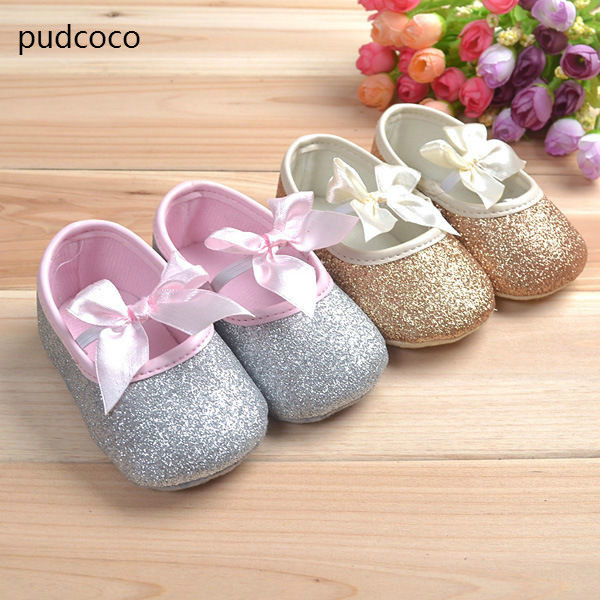 Glitter Sequins Soft Sole Baby Girl Shoes Anti-slip Bow Gold Silver First Walkers Toddler Infant Newborn Prewalker Summer