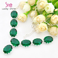 Best Seller Europe popular Oval Bright Green Quartz Gems Crystal Chain necklaces for women wedding jewelry necklace N0615