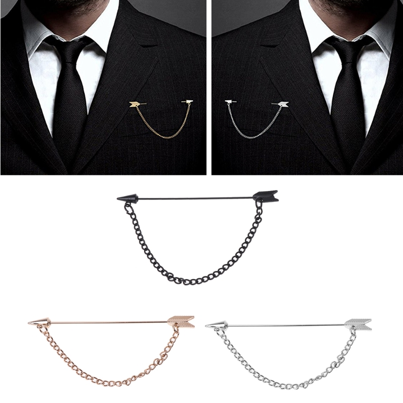 Men Arrow with Long Chain Tuxedo Lapel Pin Brooch Boutonniere for Suits Corsage-M15