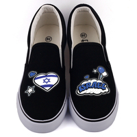 E LOV Israel Country Flag Printed Canvas Shoes Low Top White Black Casual Loafers Slip On Women Flats Chaussures Femme
