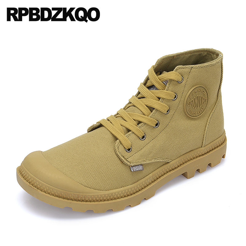 Trainer Non Slip Italian Military Canvas Shoes Booties High Top Plus Size Sneakers Men Denim Boots Casual Army Lace Up Combat