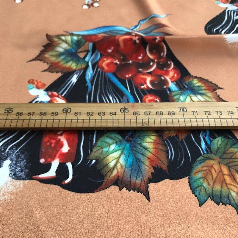 2019 Primavera y novedad de verano alta calidad diseño de vid marrón impresión ropa camisa hecha a mano DIY tela para vestido 145cm de ancho - 5