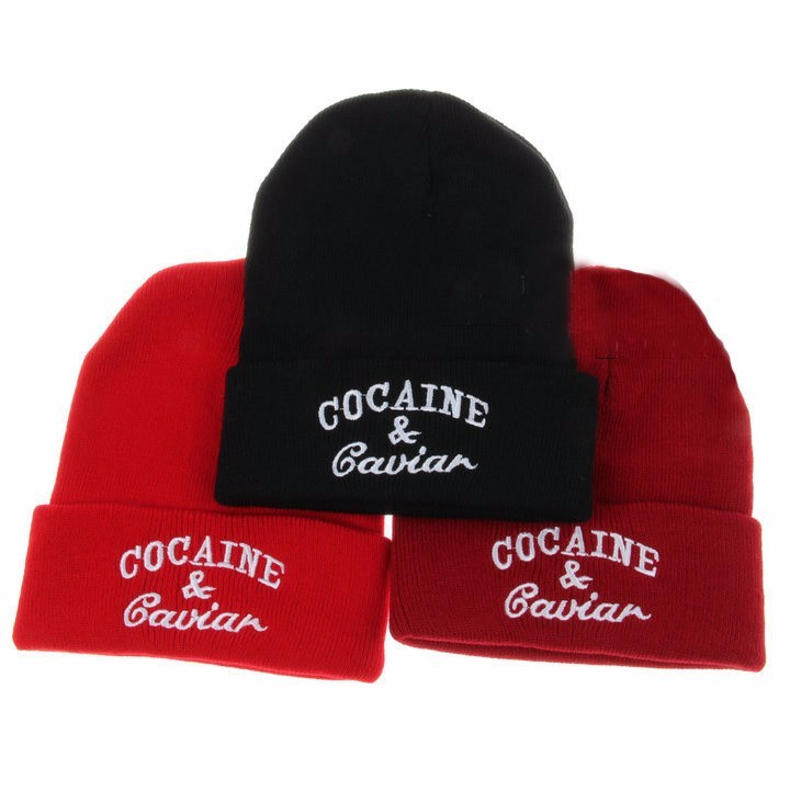 2019 Unisex Winter Fashion Cocain & Caviar Beanie Hip Hop Cap Knitted Casual Hats Gorro For Men Women Cotton Gorras Sport