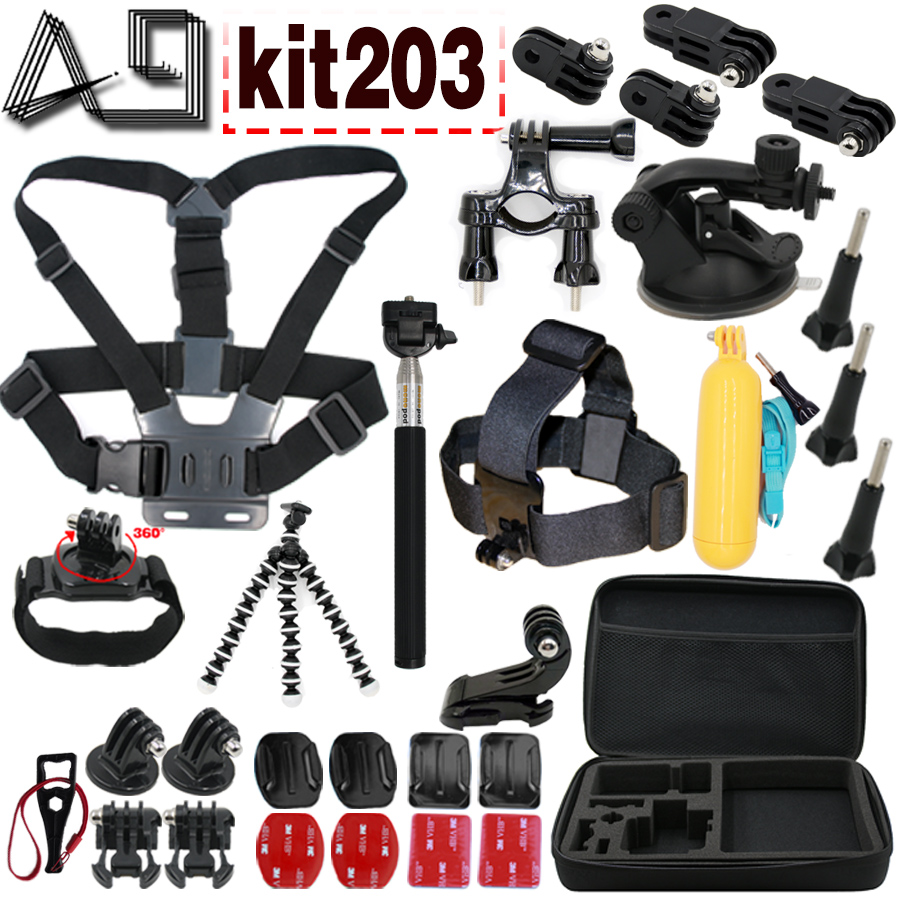 A9 pour Xiaomi Yi 4 K Kit d'accessoires sangle de poitrine Floaty Bobber monopode pour Gopro Hero 65 4 3 SJCAM SJ4000 Eken H9R caméra d'action