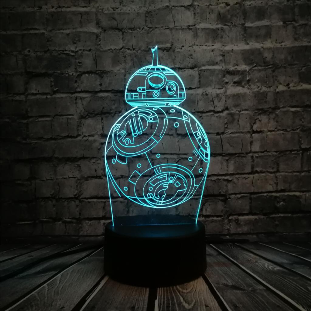 Kawaii Cartoon Movie BB-8 Star Wars Robot Figur 3D LED-lampe Flerfarvet belysning kugleindretning Kid legetøj Natlys Multicolor pære