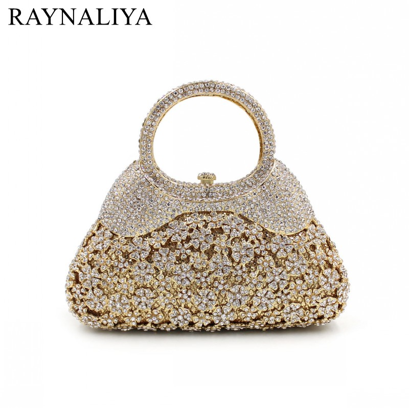 Women Gold Crystal Evening Totes Bags Bridal Diamond Handbags Purses Wedding Clutches Ladies Party Prom Clutch Bag SMYZH-E0048 red goldfish crystal clutch evening bags women mini metal hard case wedding clutches party bridal handbags purses