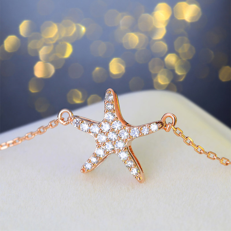 Romantic Star Starfish Pendant Necklace Rose Gold Plated Real 925 Sterling Silver Jewelry Charm Pendant Necklace Clavicle Chain