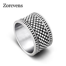 ZORCVENS, серебряное кольцо с сеткой, широкая версия, для мужчин и женщин, кольцо на палец, титановое стальное кольцо