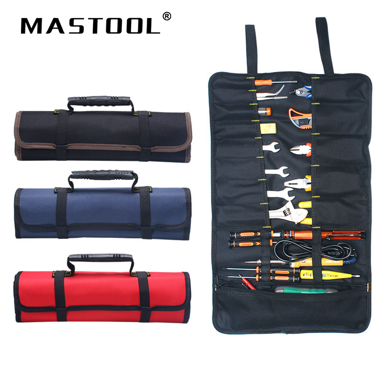Reel Kit Electrician Tool Bag Canvas Oxford Cloth Kit Multifunctional Thickening Bag Roll Tool Kit Can Make Text And Logo 1pcs