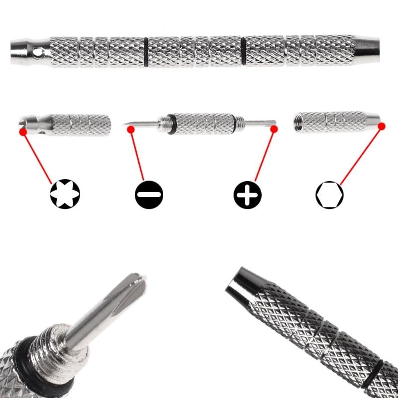 4 In 1 Screwdriver Watch Glasses Repair Tools Aluminum Steel Portable Mini Kits