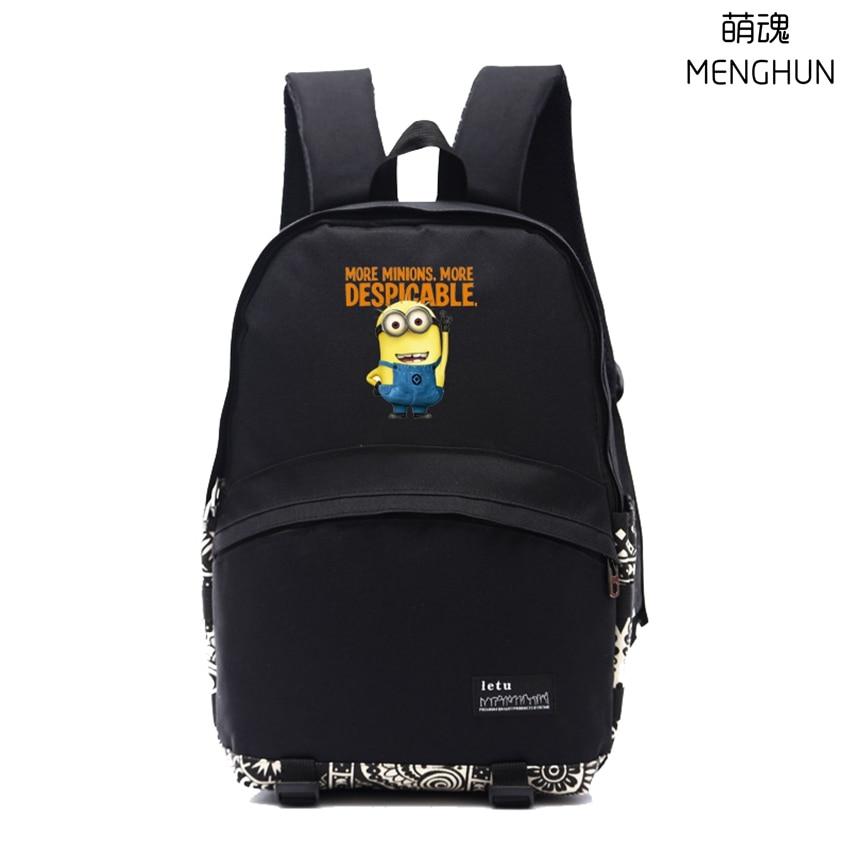 Lovely Anime Movie Cartoon Backpacks Cute Minions Backpack Student School Bag NB178