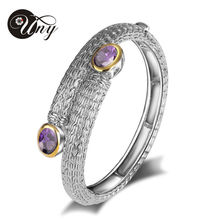 2014 nueva venta caliente de moda cristalino de la joyería pulseras aleación del cinc para para Cable de acero pulseras brazaletes uny018