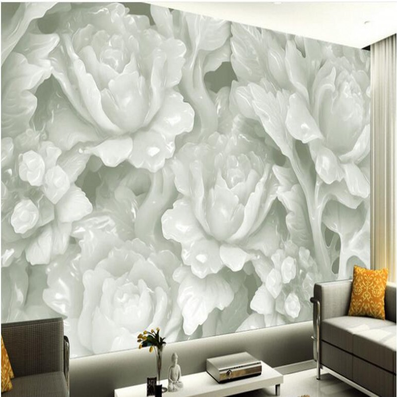 Beibehang Customized Large Scale Murals Three Woven Wallpaper Dimensional Jade Carving 3d Tv Sofa Background Wall Non