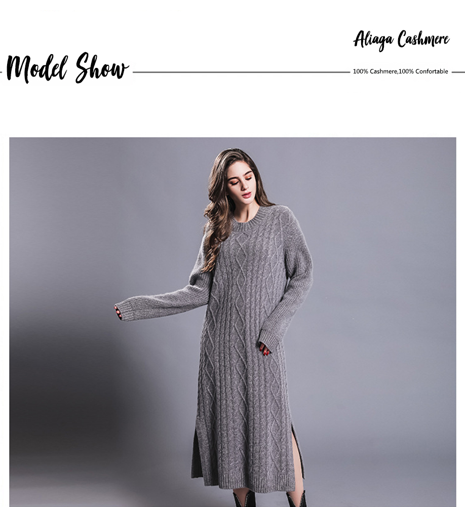 Long Sexy Dress Women 100% Cashmere Ribbed Knitted Sweater Dresses Female O-neck Long Sleeves Knitwear Autumn Winter Dress 18 2