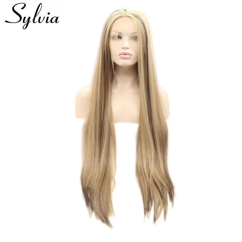 Sylvia long silky straight mixed blonde brown color heat resistant fiber hair synthetic lace front wig for women half hand tied