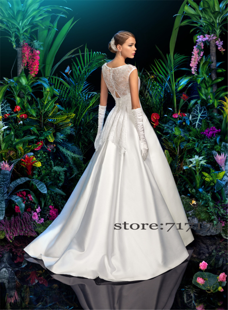 526f55a2e02 Cap-Sleeves-Plain-Matte-Satin-Applique-Lace-With-Crystals-A-line-Wedding- Dress-Illusion-Back-Bridal.jpg