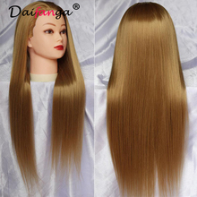 Wholesale head hair with 24 long brown natural hair mannequin head with hair training mannequin head
