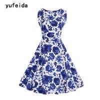 YUFEIDA Female Blue and White Porcelain Print Vintage Dress Retro 1950s 1960s Hepburn Style Female Elegant A Line Sundress