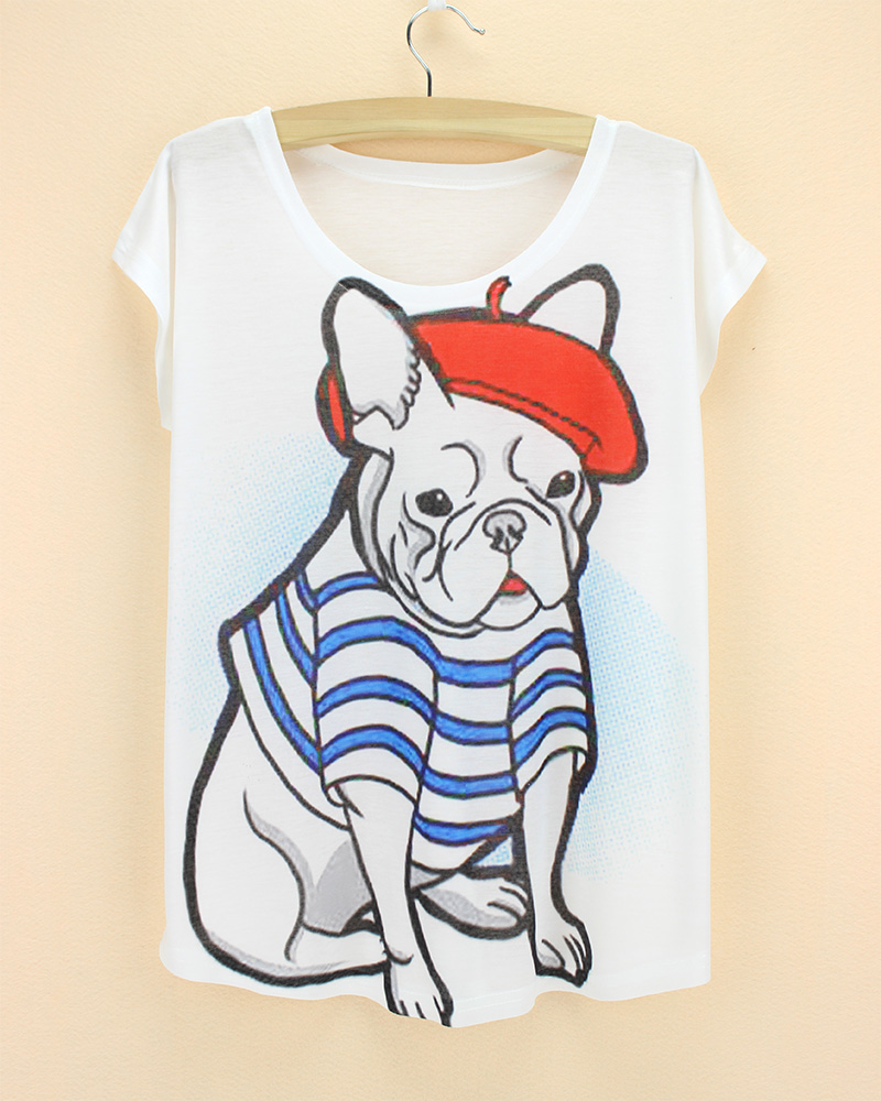 Nolvety pugs print t shirt women tops tees paris famous Designer clothes discounted