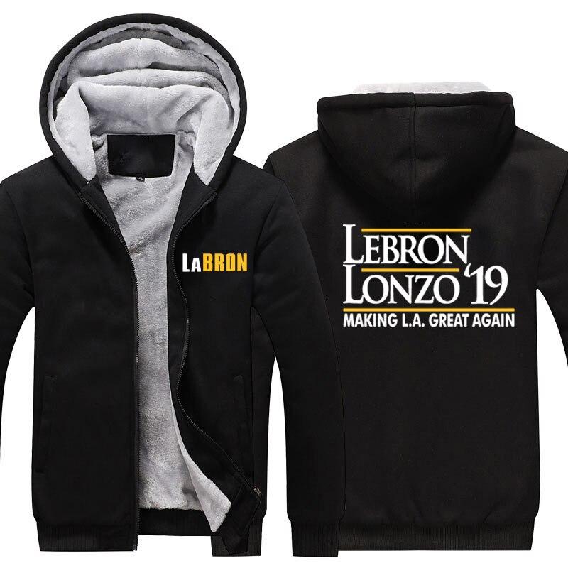 4c34ebefec7 Labron Lakers Thciken Hoodie LeBron Lonzo Make Los Angeles Great Again  Fleece Hoodie LeBron James LA Lakers Winter Warm Hoodie