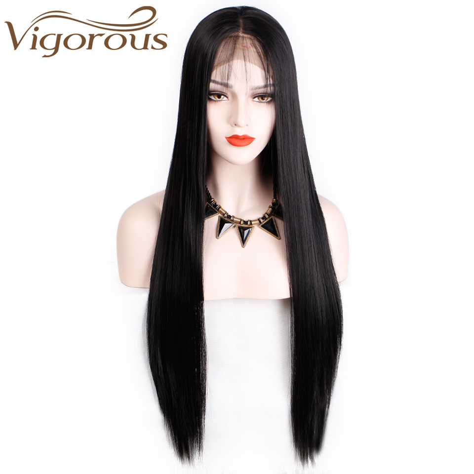 Vigorous Wigs Blonde Lace-Front Pink Straight Synthetic Black/white Heat-Resistant