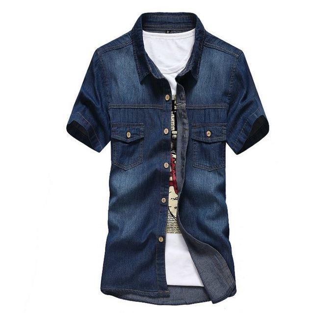 Dos homens de manga curta Denim camisa Jeans masculino magro ml XL XXL algodão de abertura de cama Collor Breased única