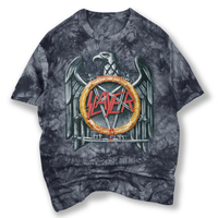 New Arrival Tie Dye Men S Grey T Shirt Printed Slayer Metal Rock Band Tee Shirts