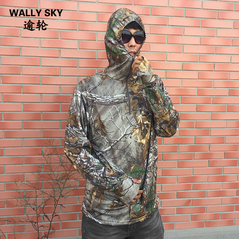 Bionic Mens Fishing T-shirt Breathable Camouflage Long-sleeved Summer Hooded Base Layer Anti- UV Sun Protection цены