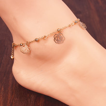New Arrival luxury Rose flower and butterfly gold anklet bracelet girl charm leg chain jewelry a16