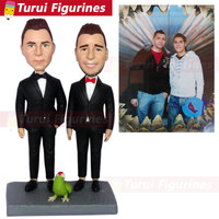 decorative collectibles custom bobblehead for bride and groom wedding cake topper personalized design antique decorative arts