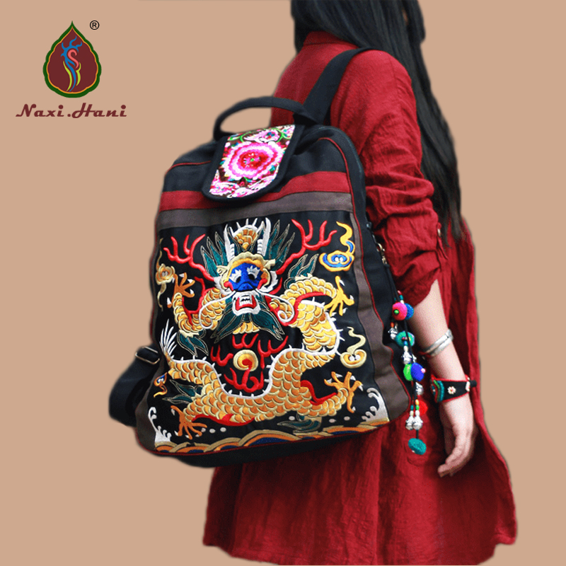 Ethnic embroidered Unisex backpack Fashion dragon pattern canvas casual travel backpack Vintage big size backpack xiyuan brand newest classic vintage unisex canvas backpack ethnic embroidery large casual travel backpacks