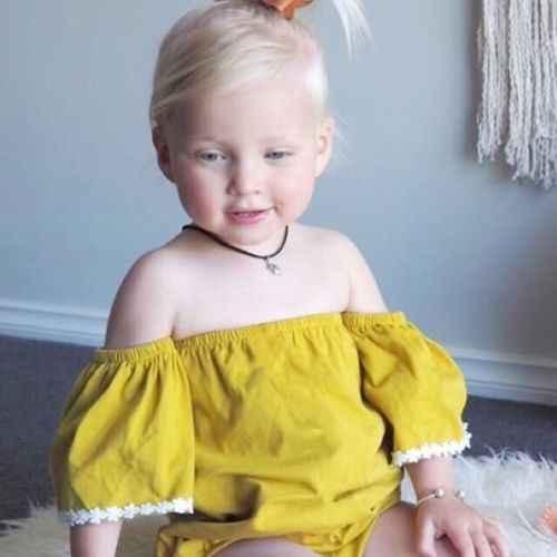 New Kids Bé Vàng Off-vai Bodysuit Mùa Hè Dễ Thương Baby Girl Ngắn Tay Áo Bodysuit Trẻ Sơ Sinh Một Mảnh Jumpsuit trang phục Sunsuit