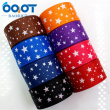 OOOT BAORJCT 176302 25mm 10yard Star Ribbons Thermal transfer Printed grosgrain Wedding Accessories DIY handmade material