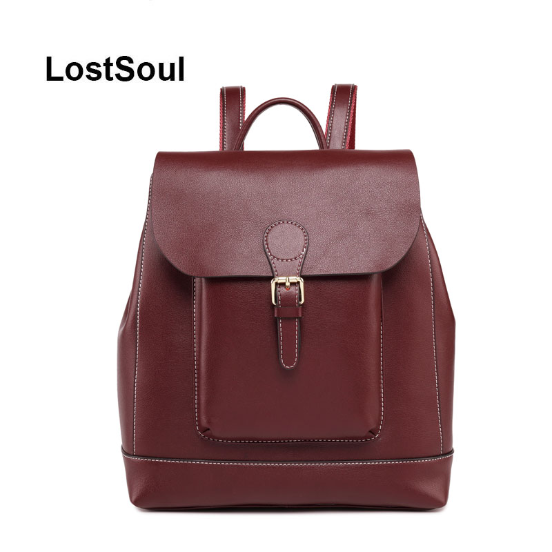 LostSoul marque huile cire grands sacs à dos pour filles sac à dos femme noir naturel femmes sac à dos de vache en cuir super grand