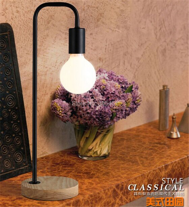 ФОТО Modern Led Table Light Solid Wood Base Design Bedside Desk Lamp 220v Black White Golden  Bedroom Office
