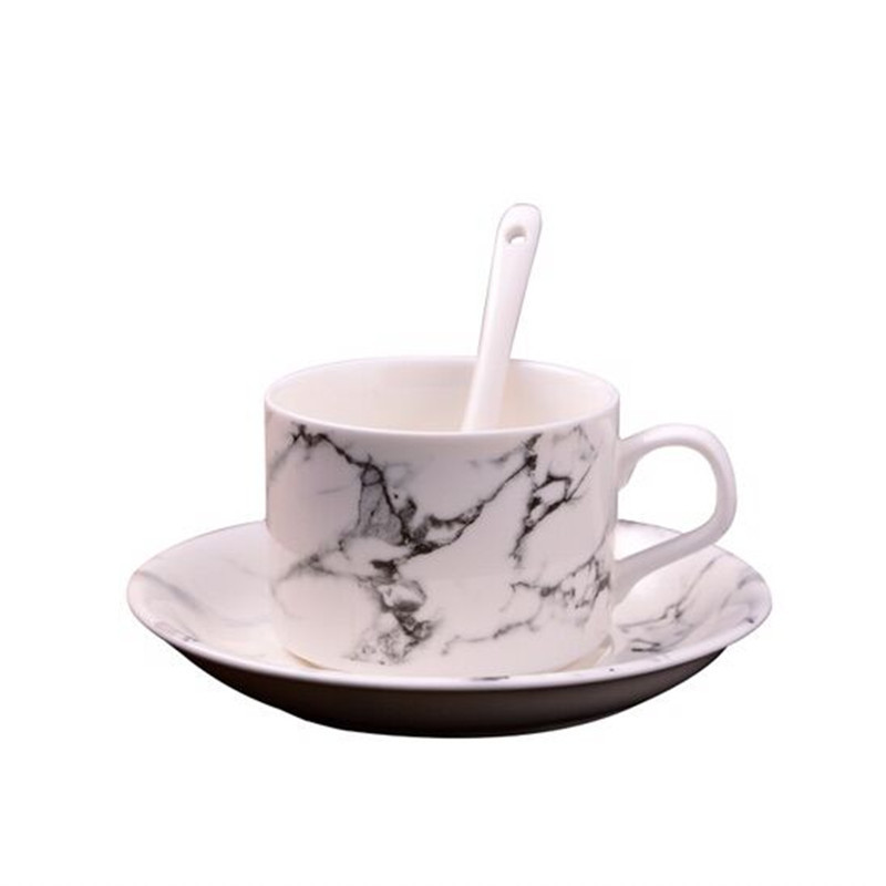 European marble coffee mug set inclue spoon dish, Afternoon TeaCup black Tea Cup coffee cup saucer set,Advanced Porcelain Mug