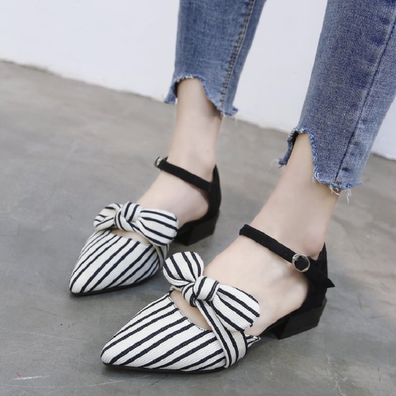 7c97c0339 Pointed sandals female summer flat shoes new stripes Korean version of the  bow baotou shoes.