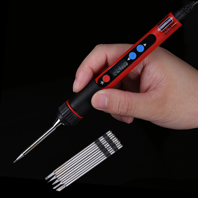 5V 10W Portable USB Soldering Iron LCD Digital Adjustable Temperature Soldering Gun BAG Welding Rework Repair Tool