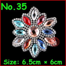 3Pcs/Lot Shiny Kawaii Flower pattern hot fix rhinestone,heat transfer design iron on rhinestone motif,embellishment for garment