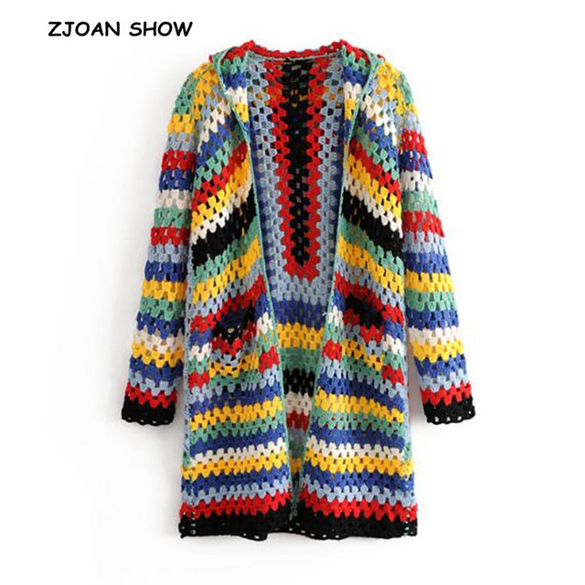 17882e38d6 Bohomian Colored Striped Hollow Out Hooded Cardigan Sweater 2018 Ethnic  Retro Women Open Stitching Knitted Knitwear