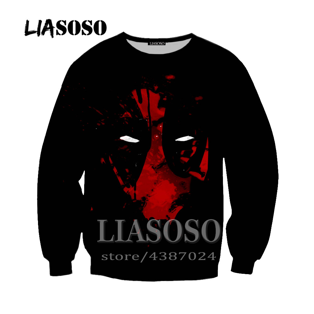 LIASOSO Newest Men Women Sweatshirt Outerwear Anime Deadpool Hoodie Homme Hipster 3D Print Deadpool Crewneck Pullover Y250
