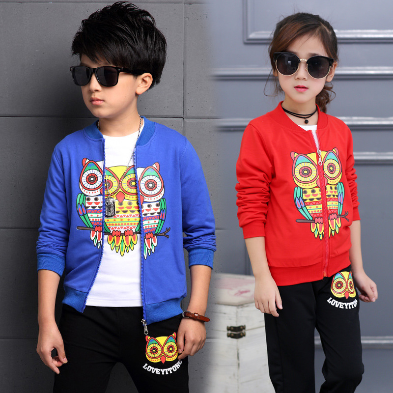 Children Boys Girls Clothing Set Owl Print Toddler Baby Clothes Sports Suit 4-13Years Kids Tracksuit Jacket + Shirt+ Pants H307 baby fashion clothing kids girls cowboy suit children girls sports denimclothes letter denim jacket t shirt pants 3pcs set 4 13