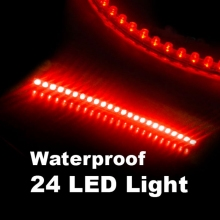Waterproof 24 LEDs Flexible Auto Car Decorative LED Strip Lamp 24cm Red Light-emitting Diode Light for Truck Boat Motorcycle ATV