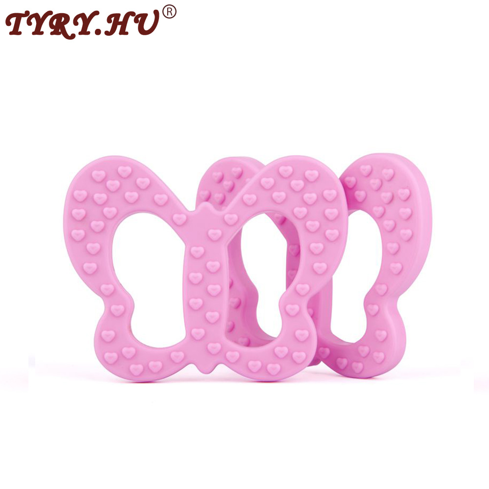 TYRY.HU 1 Piece Butterfly Teether Silicone Pendant Baby Shower Teething Toy Gift Pacifier Clip  BPA Free Nursing Necklace